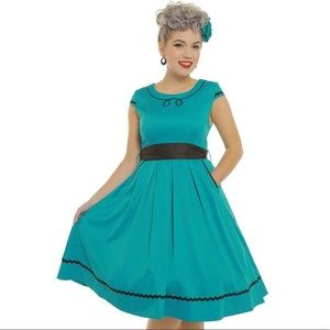 Lindy Bop Bethany Teal Pin-Up VLV Swing Dress